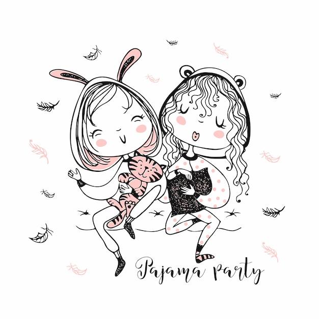 Garotas bonitas de pijama se divertem em uma festa do pijama. Vetor Premium
