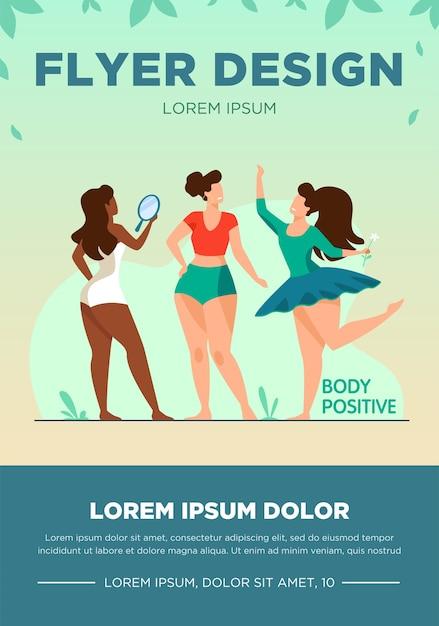Garotas felizes admirando sua ilustração vetorial plana de corpos. personagens femininas positivas do corpo sorrindo umas para as outras. mulheres ativas com figuras plus size. beleza diferente, moda e estilo de vida saudável Vetor grátis