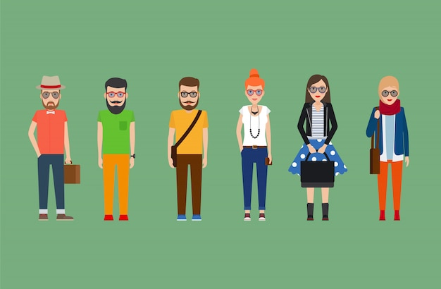 Garotas hipster plana e conjunto de meninos Vetor Premium