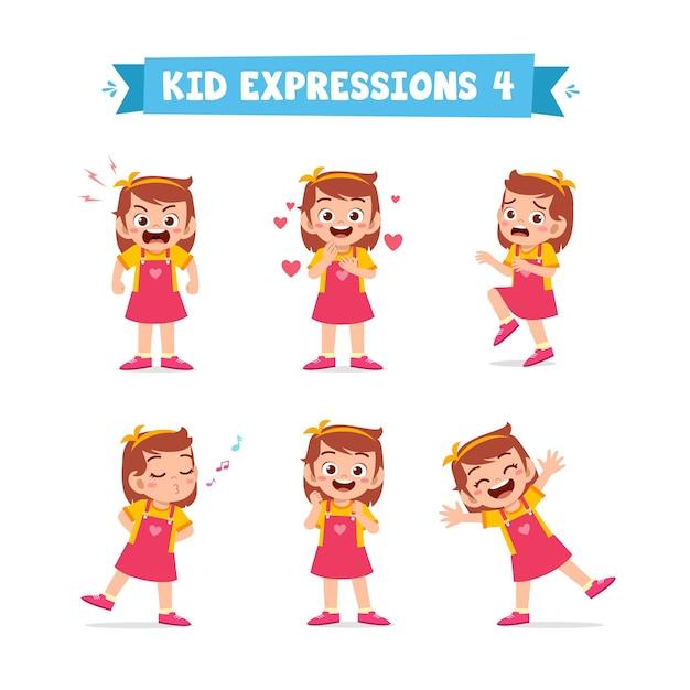 Garotinha fofa em várias expressões e conjunto de gestos Vetor Premium