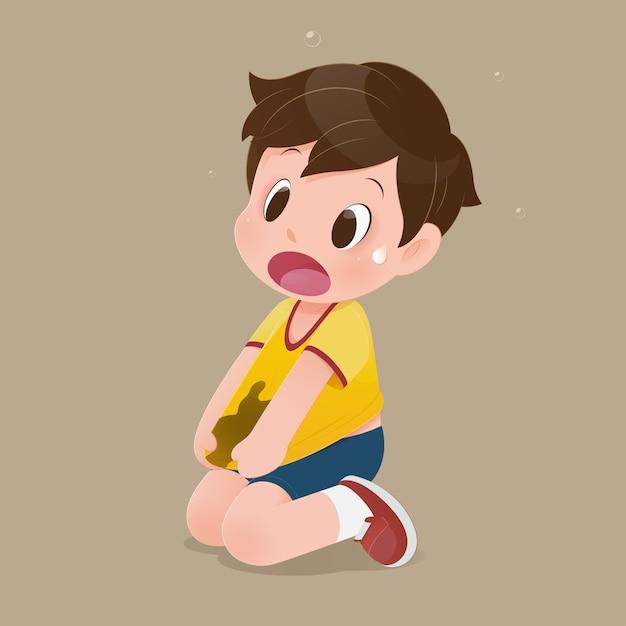 Garotinho com uma camisa amarela manchada de lama. conceito com desenho vetorial Vetor Premium