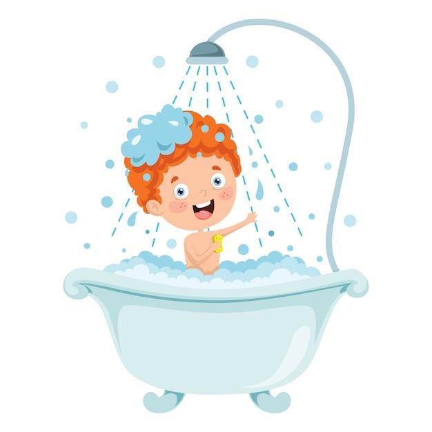 Garotinho engraçado tomando banho Vetor Premium