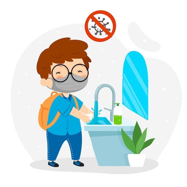 Garotinho lavando as mãos na escola Vetor Premium