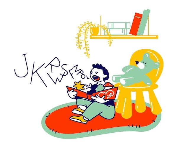 Garotinho sentado no chão, tentando ler o livro. lição de logopédia, criança aprendendo a falar corretamente. ilustração plana dos desenhos animados Vetor Premium