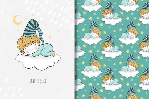 Garotinhos dormindo na nuvem Vetor Premium