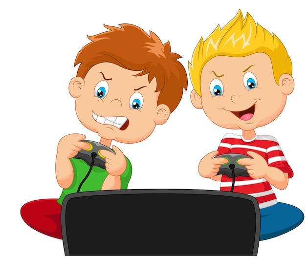 Garotinhos jogando videogame Vetor Premium