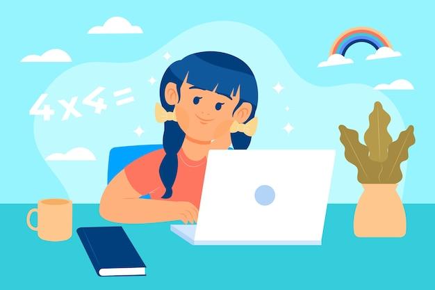 Garoto aprendendo e fazendo cursos on-line Vetor Premium