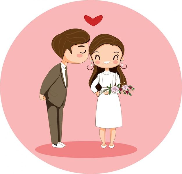 Garoto bonito, beijando o personagem de desenho animado garota para o conceito de dia dos namorados Vetor Premium