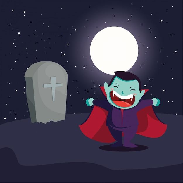 Garoto bonito disfarçado de vampiro em cena de halloween Vetor Premium