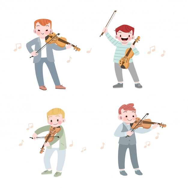 Garoto bonito feliz tocar música violino vector conjunto de ilustração Vetor Premium