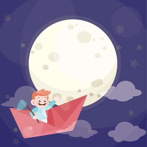 Garoto bonito jogar avião de papel com lua cheia Vetor Premium