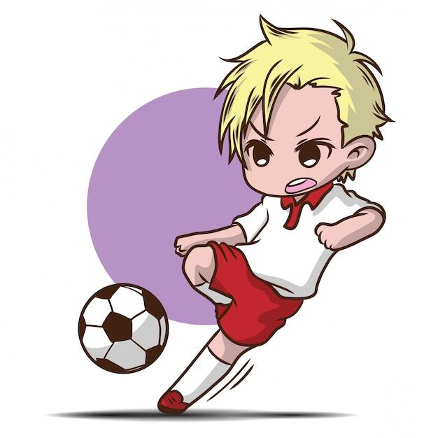 Garoto bonito jogar personagem de desenho animado de futebol Vetor Premium