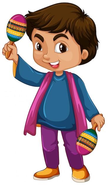 Garoto da índia segurando maracas em branco Vetor Premium