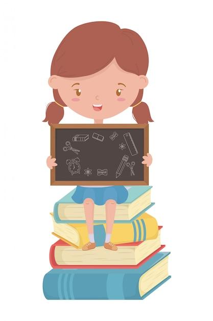 Garoto de garota de desenho de escola Vetor Premium