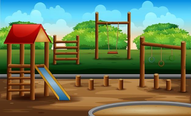 Garoto de madeira plaground na natureza Vetor Premium
