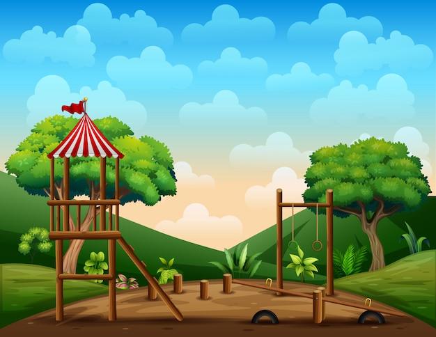 Garoto de madeira playground na natureza Vetor Premium