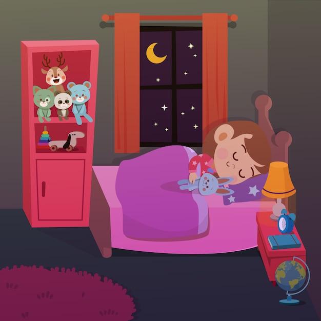 Garoto dormir em ilustração vetorial de quarto Vetor Premium