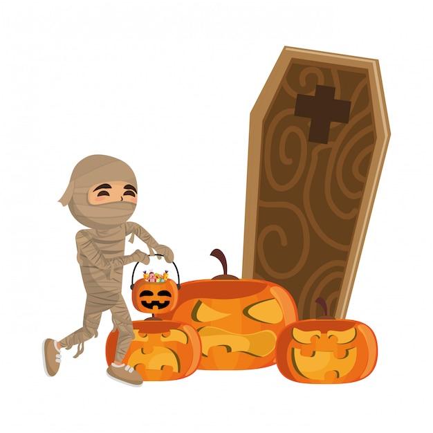 Garoto e desenho de halloween Vetor Premium