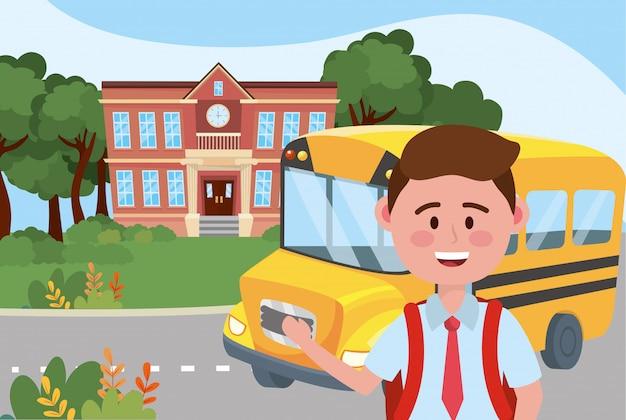 Garoto garoto e escola de ônibus Vetor grátis