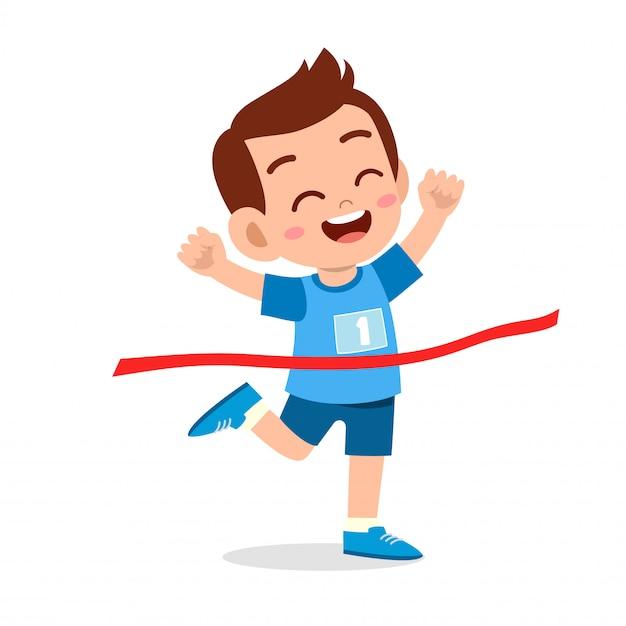 Garoto garoto feliz vai linha de chegada ganhar a primeira ilustração Vetor Premium