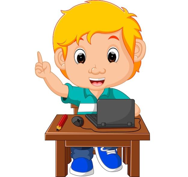 Garoto garoto usando o desenho animado de computador Vetor Premium