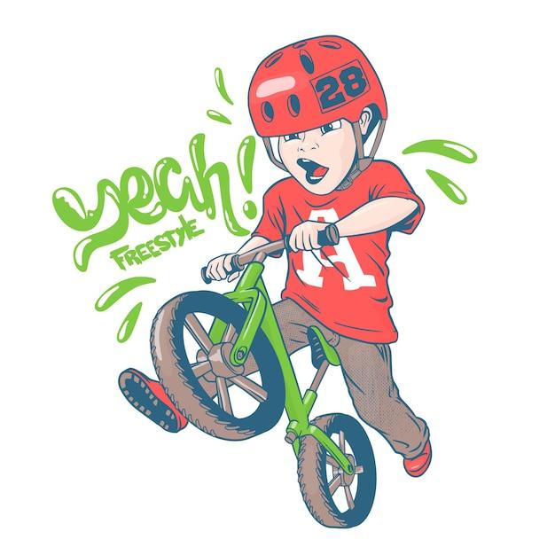 Garoto legal em uma bicicleta strider Vetor Premium