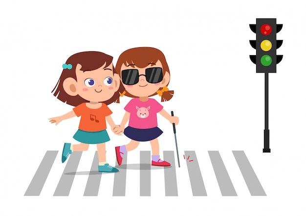 Garoto menina ajuda cego amigo atravessar estrada Vetor Premium