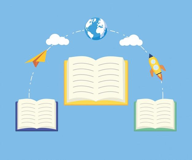 Garoto no dia mundial do livro Vetor grátis
