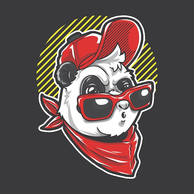 Garoto panda urbano Vetor Premium
