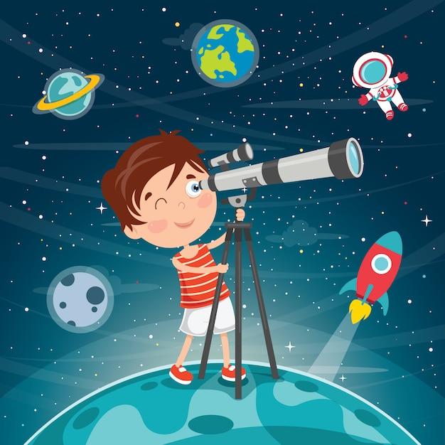 Garoto usando telescópio para pesquisa astronômica Vetor Premium
