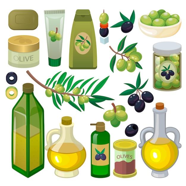 Garrafa de azeite de oliva com óleo virgem e ingredientes oliváceos naturais para conjunto de ilustração de comida vegetariana de produtos de olivebranch ou olivet, isolados no fundo branco Vetor Premium