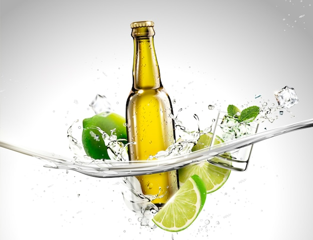 Garrafa de bebida com limão e balas fluindo em líquido transparente Vetor Premium