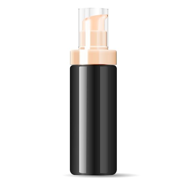 Garrafa de bomba de dispensador de cosméticos preto creme Vetor Premium