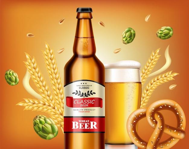 Garrafa de cerveja e pretzel fresco Vetor Premium