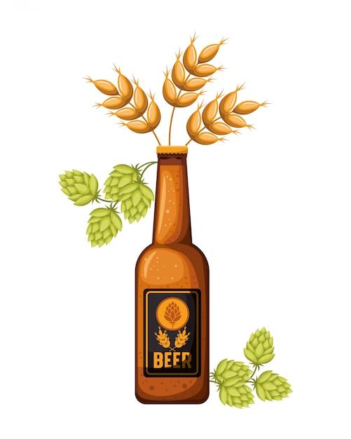 Garrafa de cerveja e trigo ícone isolado Vetor Premium