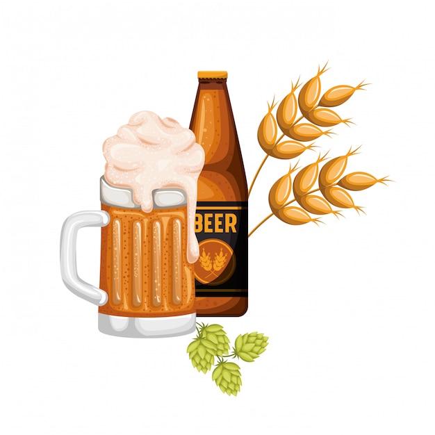 Garrafa de cerveja e vidro isolado ícone Vetor Premium