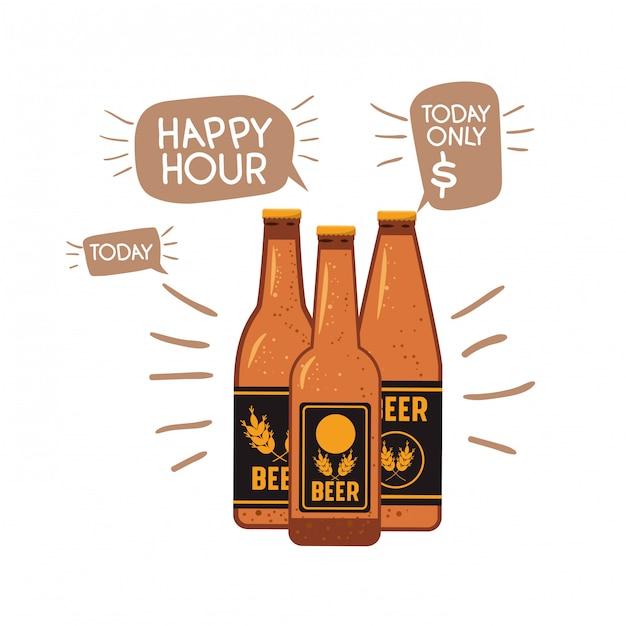 Garrafa, de, cerveja, isolado, ícone Vetor Premium