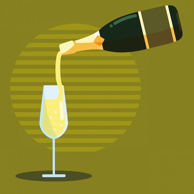 Garrafa de champanhe com copo Vetor Premium