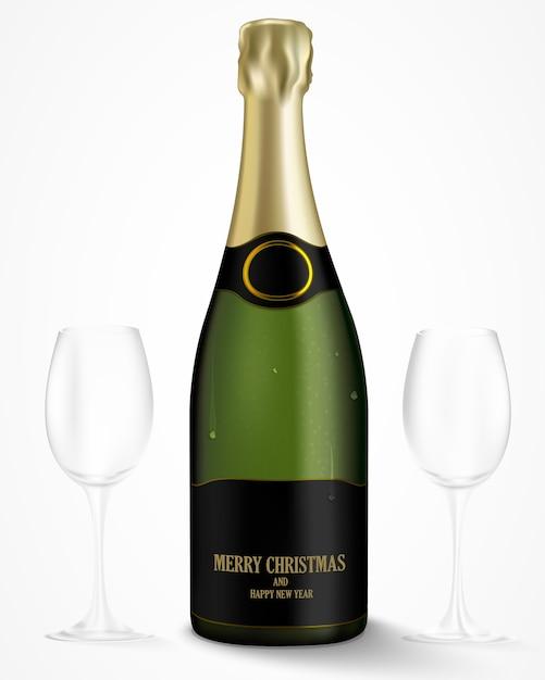 Garrafa de champanhe em uma luz de fundo Vetor Premium