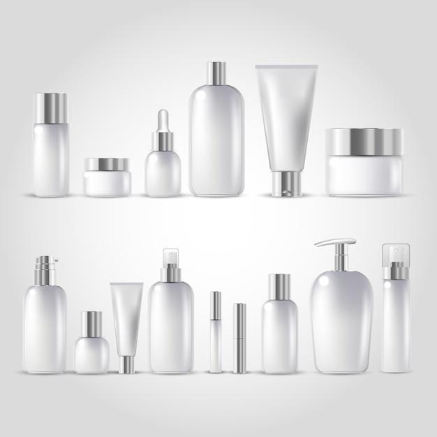 Garrafa de cosmética mock up definido Vetor Premium
