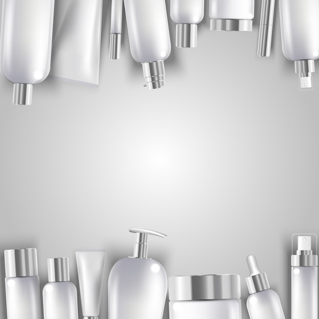 Garrafa de cosméticos mock up conjunto pacotes isolados Vetor Premium