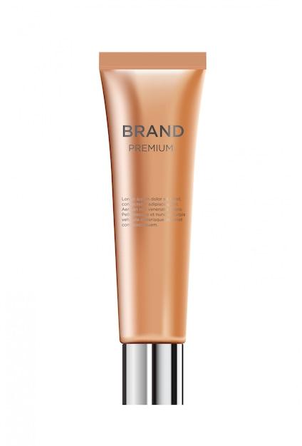 Garrafa de creme cosmética glamourosa de luxo realista Vetor Premium