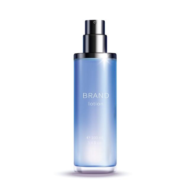 Garrafa de spray de vidro azul Vetor grátis