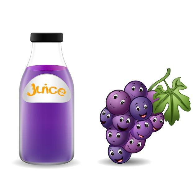 garrafa de suco de uva com desenhos animados de uva bonito baixar