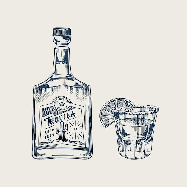 Garrafa de tequila glass shot com limão e rótulo para poster retro ou banner. esboço vintage desenhado mão gravada. estilo xilogravura. ilustração. Vetor Premium