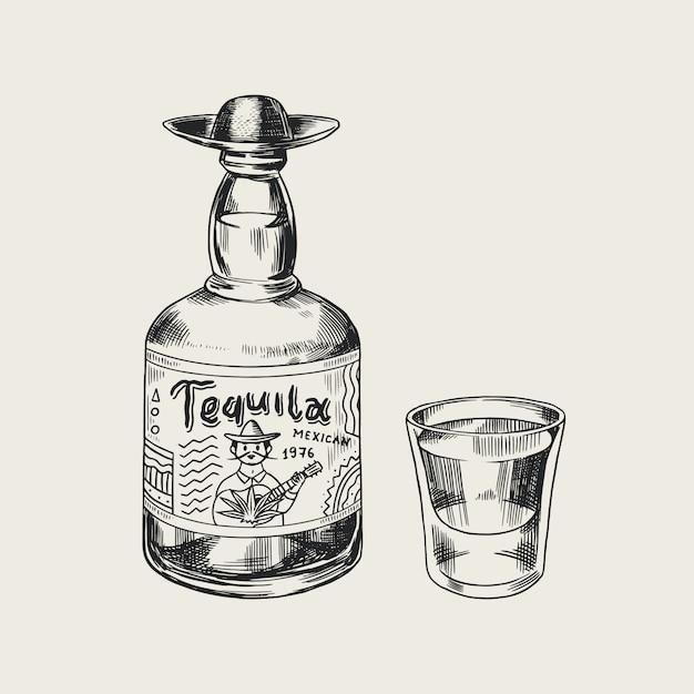 Garrafa de tequila glass shot e rótulo para poster retro ou banner. esboço vintage desenhado mão gravada. estilo xilogravura. ilustração. Vetor Premium