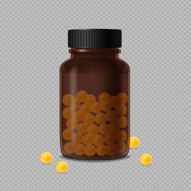 Garrafa de vidro marrom médica fechada e vitaminas amarelas Vetor grátis