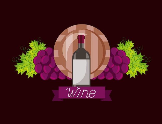 Garrafa de vinho barril de madeira uvas Vetor grátis