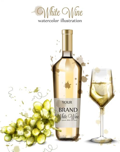 Garrafa de vinho branco e aquarela de vidro Vetor Premium