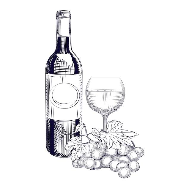 Garrafa de vinho de mão desenhada, vidro e uvas. estilo de gravura. Vetor Premium